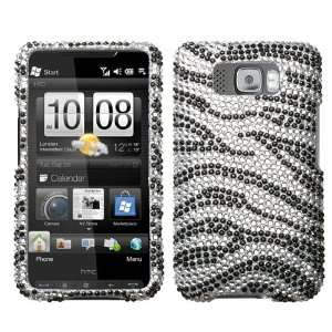 HTC HD2, Black Zebra Skin Diamante Protector Cover