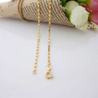 24K Gold Plated Child TILE CHAIN Necklace Jewelry 35cm