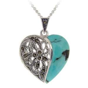 Creations Silver Turquoise and Marcasite Heart Locket Necklace
