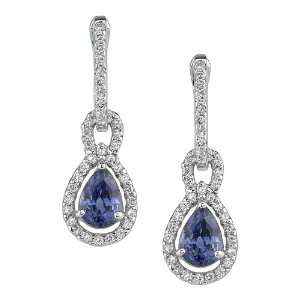 Accenting a Marvelous Pear Shaped Blue Sapphire Gemstone Earring