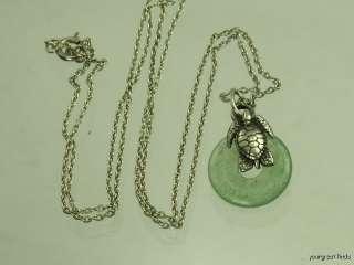 VINTAGE 925 STERLING SILVER TURTLE & GREEN JADEITE RING PENDANT