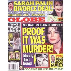 Globe MICHAEL JACKSON SARAH PALIN PRINCE WILLIAM Tony Frost Books