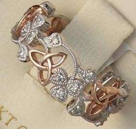 14K White and Rose Gold Trinity Shamrock Diamond Ring Made in Ireland