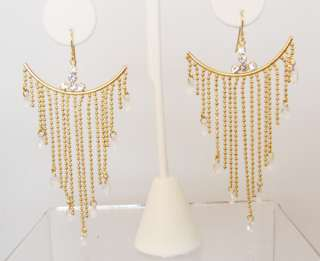 CLEAR CRYSTAL BEAD DROP GOLD FRENCH WIRE EARRINGS NEW