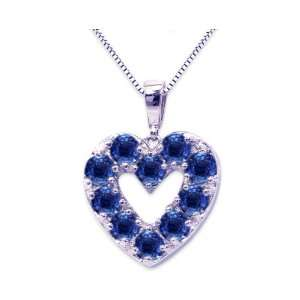 White Gold Precious Heart Pendant Blue Sapphire , Chain  NOT included