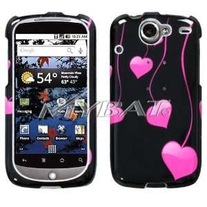 HTC GOOGLE NEXUS ONE BLACK AND PINK LOVE HEART DROPS DESIGN HARD CASE