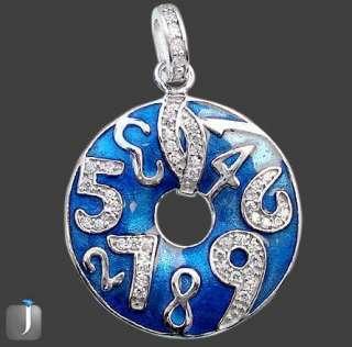 RARE CLOCK BLUE DONUT NUMBER WHITE TOPAZ ENAMEL 925 SILVER PENDANT 1 5