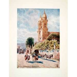 1906 Color Print Wigram Spain Church Nuestra Senora Esclavitud Donkey
