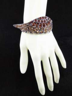 Swarovski Crystal Topaz Angel Wing Bangle Bracelet