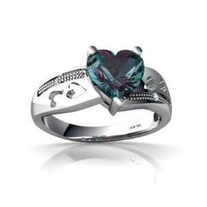 14K White Gold Heart Created Alexandrite Ring Size 6.5