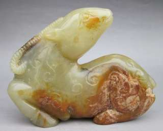 Old Chinese Nephrite Jade Carved Goat Statue