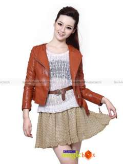 Women Fashion Vintage Motorcycle Faux Leather Short Jacket Trench Coat