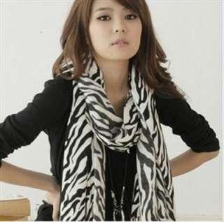 LONG Classic WOMEN Black&White Zebra Heart Print Scarf CAPE WRAP
