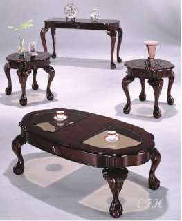 NEW 3PC CANEBURY CHERRY WOOD COFFEE END TABLE SET