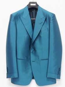 4450 TOM FORD   Teal Blue Silk Peak Lapel Tuxedo / Jacket Sz 52R(IT