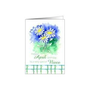 Happy April Birthday Niece White Shasta Daisy Flower Watercolor Card
