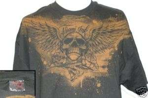 Authentic Miami Ink Skull Wings Tattoo T Shirt L   XL