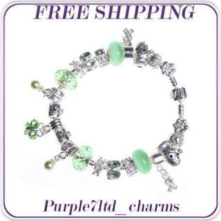 1pc green cats eye silver pendant European beads charm bracelet ZN9