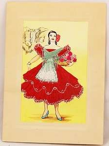 Hand Made BIRTHDAY CARD Spanish Lady Red Stitches Harquin Heirloom