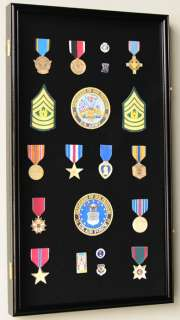 Large Lapel Pin Medal Display Case Cabinet Shadow Box