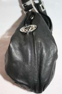 Auth. Michael Michael Kors Black Leather Shoulder Purse Handbag Medium
