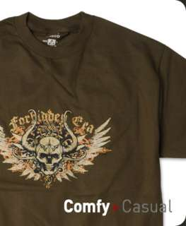 New Mens Forbidden Era Evil Skull T shirt Tee Brown M