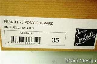 AUTH Christian louboutin Peanut 70 Pony hair Guepard size 35