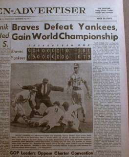 1957 newspapers MILWAUKEE BRAVES win WORLD SERIES v NY YANKEES Spahn