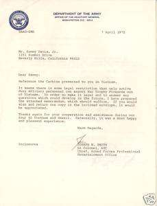 Sammy Davis Jr Signed Vietnam War Army Document PSA/DNA