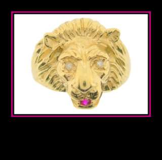 Mans 10K Yellow Gold Lion Head Fashion Ring with Diamond Eyes and