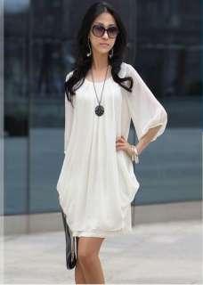 Fashion Ladys Graceful Chiffon Casual Short Sleeve White Dress Size L