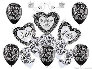 WEDDING Shower DAMASK Black WHITE Party BALLOONS Set