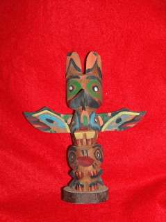 NATIVE AMERICAN TOTEM POLE, Vtg CHIEF WHITE EAGLE Indian Carved Wood