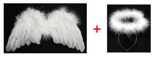 GoinDol] White Angel Feather Wings Halo Props Costume Baby Infant 6