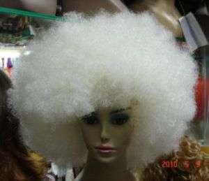 white big Afro hair wig + weaving cap