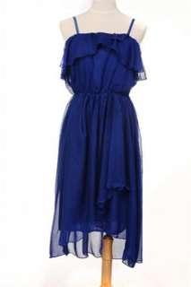 Blue Elegant Halter Chiffon Skirt Beach Long Maxi Dress #8533