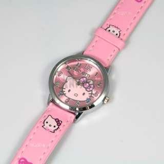 Pink Cute Lovely Alloy Colorful Bowknot Quartz Hellokitty Kid Girls