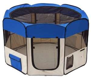 Door Pet Dog Playpen Puppy Soft Exercise Travel Crate Pen Kennel Blue