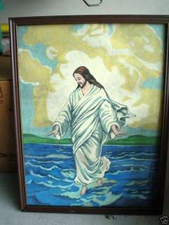 Vintage Pastel Painting Jesus Walking on Water