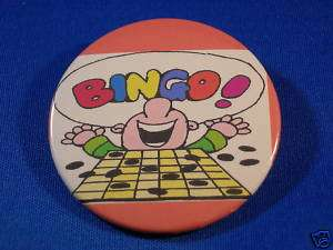 BINGO   HAPPY GUY WINNER Button pin pinback badge NEW