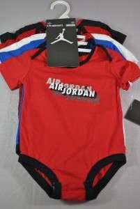 AIR JORDAN INFANT 5 PK BODYSUITS BABY BOY SIZE 6/9 MONTHS SET