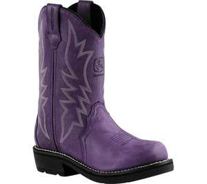 John Deere Womens Western Cowboy Boot Purple Blue Pullon JD2226 Size 6