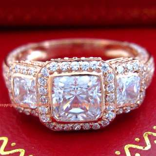 9ct Genuine Solid Rose Gold Priness Cut Engagement Ring