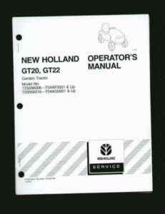 New Holland GT20 GT22 Garden Tractor Operators Manual