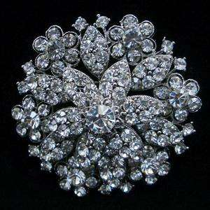 Wedding Party Bridal Brooch Pin Clear Swarovski Crystal