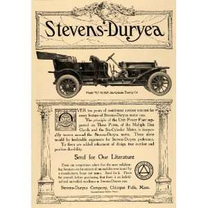 1910 Ad Stevens Duryea Model Y 6 Cylinder Touring Car