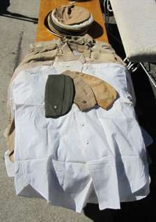 MILITARY SHIRTS GARRISON CAPS Khaki White USMC Marine Corps Longsleeve