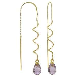 14k Solid Gold Threaded Earrings with Amethysts Jewelry
