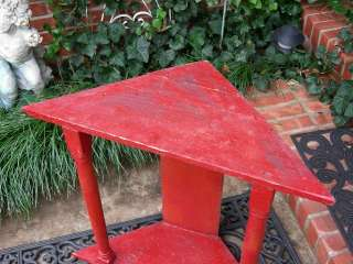 FABULOUS RED PRIMITIVE CORNER TABLE!~ANTIQUE FARM HOUSE RUSTIC