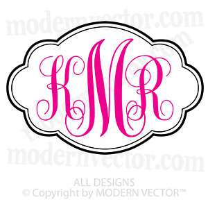 Personalized Monogram Vinyl Wall Decal Cloud Border